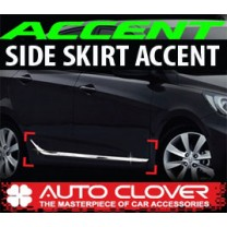 [AUTO CLOVER] Hyundai New Accent - Side Skirt Accent Chrome Molding Set (B755)