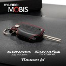 [MOBIS] Hyundai Grandeur HG - Smart Key Leather Key Holder (Black/Red Stitch) - DM300R