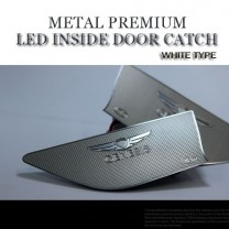 [CHANGE UP] Hyundai New Genesis DH​ - White Metal Premium LED Inside Door Catch Plates Set