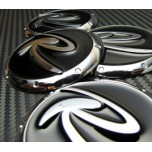 [7X] 3D Black R-Logo Wheel Cap Set (60mm)