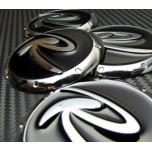 [7X] 3D Black R-Logo Wheel Cap Set (60mm)