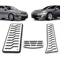 [MEDIGN] Hyundai Genesis / Coupe - Metal Hairline Sports Pedal Cover Set - 3/4 PCS