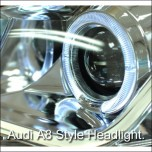 [AUTO LAMP] Chevrolet Cruze - A8 STYLE LED Angel Eyes Headlights Set (Chrome)