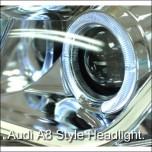 [AUTO LAMP] Chevrolet Cruze - A8 STYLE LED Angel Eyes Headlights Set (Chrome)
