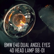[AUTO LAMP] BMW E46 4D - LED Dual Angel Eyes Projector Headlights
