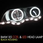 [AUTO LAMP] BMW X5 (E53) - CCFL & LED Black Headlights Set