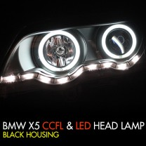 [AUTO LAMP] BMW X5 (E53) - CCFL & LED Black Headlights Set