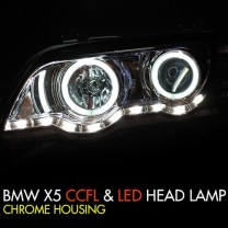 [AUTO LAMP] BMW X5 (E53) - CCFL & LED Chrome Headlights Set