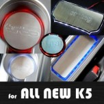 [ARTX] KIA All New K5 - LED Stainless Cup Holder & Console Plates Set