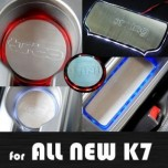[ARTX] KIA All New K7 - LED Stainless Cup Holder & Console Plates Set
