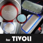 [ARTX] SsangYong Tivoli - LED Stainless Cup Holder & Console Plates Set