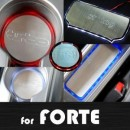 [ARTX] KIA Forte - LED Stainless Cup Holder & Console Plates Set