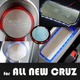 [ARTX] Chevrolet Cruze 2017 - LED Stainless Cup Holder & Console Plates Set